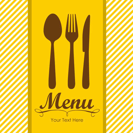 Elegant card for restaurant menu, with spoon, knife and fork vector illustration Stock Vector - 14345174