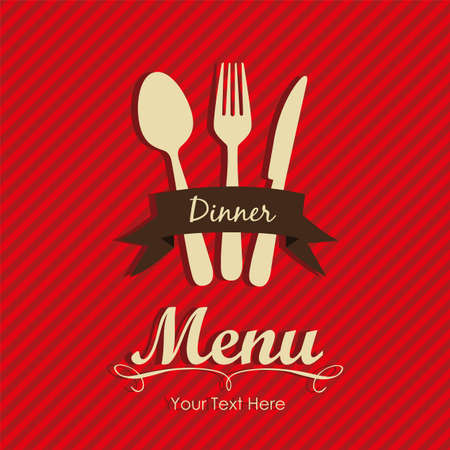 Elegant card for restaurant menu, with spoon, knife and fork vector illustration Stock Vector - 14345179