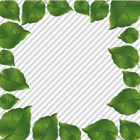 Green leaves on a background of gray lines, vector illustration Stock Vector - 14345185