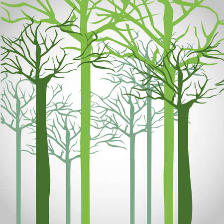 Silhouettes of tree trunk in green,  illustration Vector