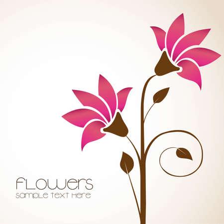 eenvoudige achtergrond met delicate bloemen, illustratie