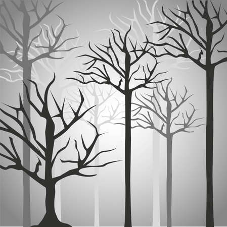 Silhouettes of tree trunk in black and gray, illustration Vector