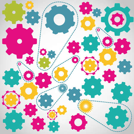 clockwork: gears of colors isolated on gray vector illustration