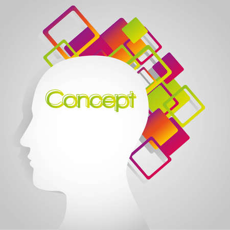 silhouette of a man overflowing with colored shapes on a white background,   illustration Vector