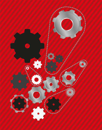 industrial machinery: gear mechanism on a background of red lines, vector illustration