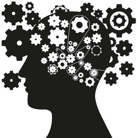 gear head: silhouette of a man with a gear mechanism in the head, vector illustration