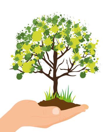 plantando un arbol: ilustraci�n ecol�gica de la mano de plantar un �rbol, ilustraci�n vectorial Vectores