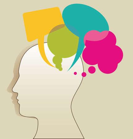 silueta de un hombre con coloridos globos de texto, ilustración vectorial