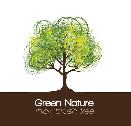 branching: illustration of a tree with brush; vector illustration Illustration