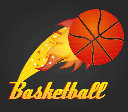 scorching: illustration with basketball ball, vector illustration Illustration