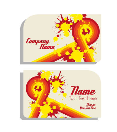 dirty bussines: Bussines card with abstract design lines in warm colors and color spots; vector illustration Illustration
