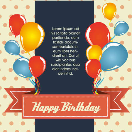 birthday card: vintage birthday card with balloons, vector illustration