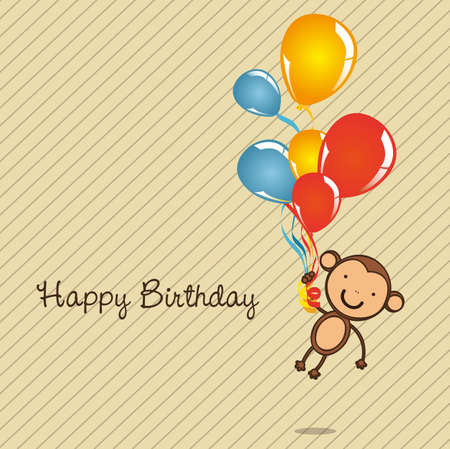 bright card: monkey birthday card with balloons, vector illustration