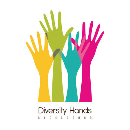 help: hands of different colors. cultural and ethnic diversity, vector illustration