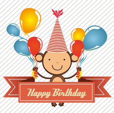 vintage birthday card with monkey and balloons,  illustration