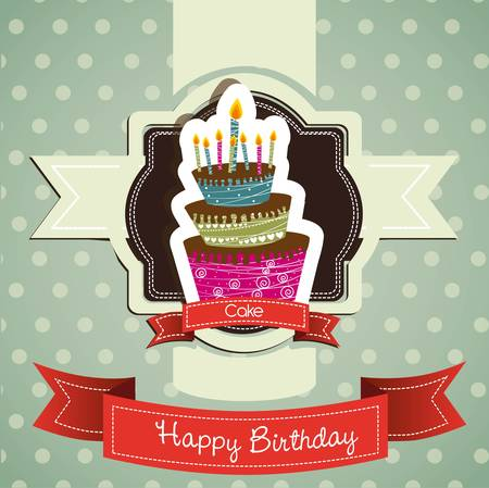 fancy cake: birthday card with colored cake, vector illustration