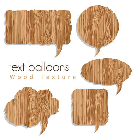 plywood: text balloons with wood texture, vector illustration