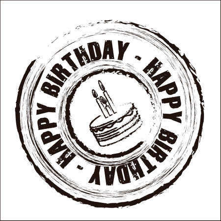 compleanno: Compleanno sigillo rotondo con diverse icone, illustrazione vettoriale