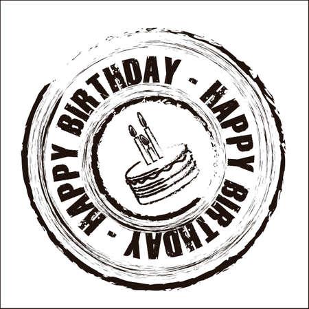 velas de cumplea�os: Cumplea�os sello redondo con diferentes iconos, ilustraci�n vectorial