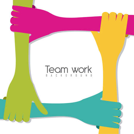 work team: hands of different colors, cultural and ethnic diversity, team work. vector illustration