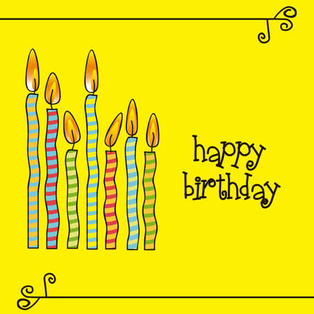 birthday card with colored candles, vector illustration Vector