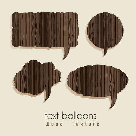 шпон: текстовые воздушные шары с текстуры дерева, векторные иллюстрации