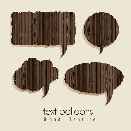 text balloons with wood texture, vector illustration Vector