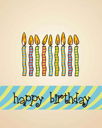 birthday card with colored candles, vector illustration Stock Vector - 14473055