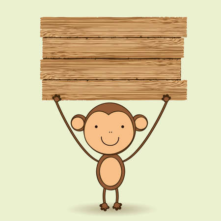 Cute monkey illustration with blank wooden sign, vector illustration Vector