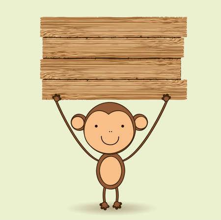 mono caricatura: Ilustraci�n mono lindo con la muestra en blanco de madera, ilustraci�n vectorial Vectores