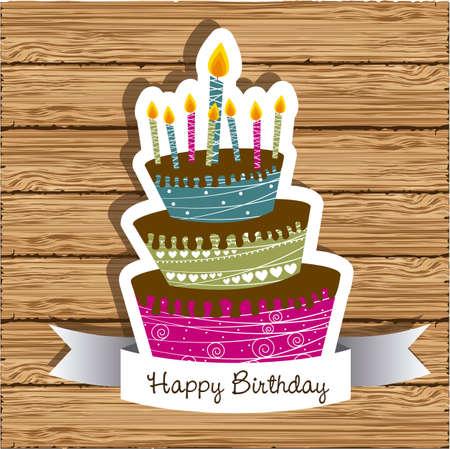 pastel feliz cumplea�os: tarjeta de cumplea�os con pastel de colores sobre fondo de madera, ilustraci�n vectorial