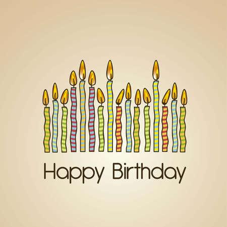 candeline compleanno: carta d'epoca di compleanno con candele colorate, illustrazione vettoriale Vettoriali