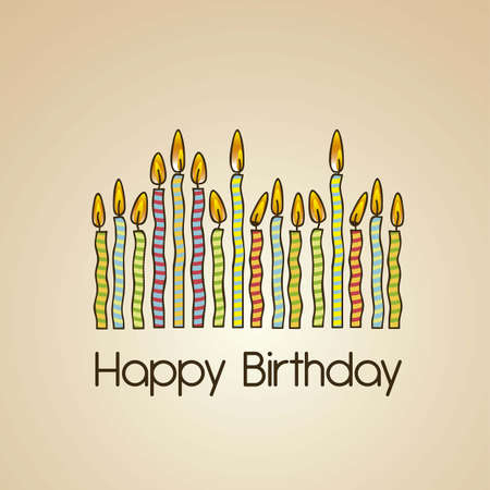 birthday present: vintage birthday card with colored candles, vector illustration Illustration