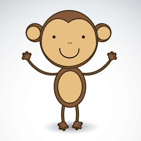 illustration of cute monkey isolated on white background, vector illustration Vector