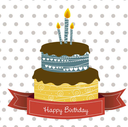 birthday: birthday card with colored cake, vector illustration