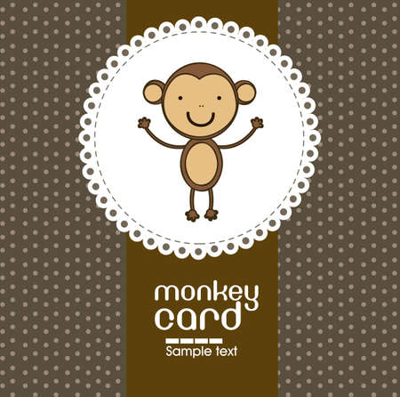 primate: Card with cute monkey, vector illustration