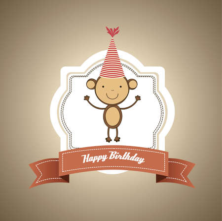 vintage birthday card with monkey and balloons, vector illustration Vector