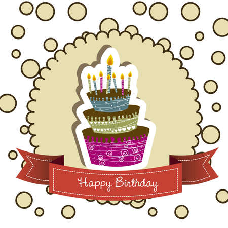 birthday card with colored cake, vector illustration  Stock Vector - 14473290