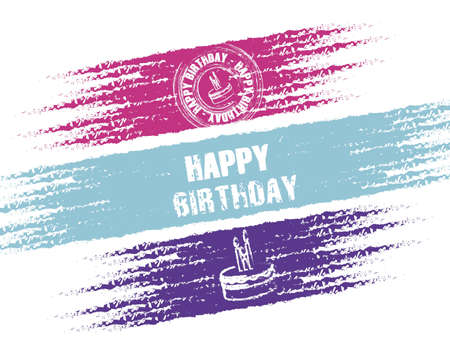 Birthday stamp on black background, vector illustration Vector