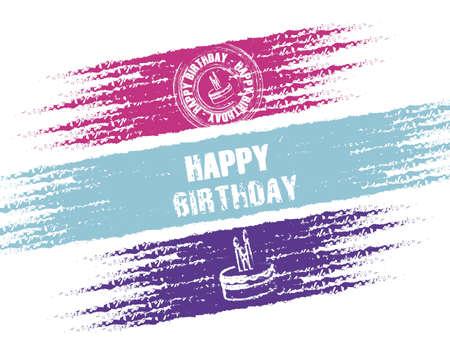Cumpleaños sello sobre fondo negro, ilustración vectorial
