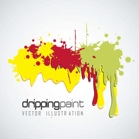 ooze: color illustrations paint dripping on black background, vector illustration