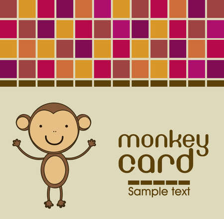 Cute monkey card with colorful mosaics, vector illustration Vector