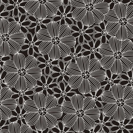 floral background, pattern black and white, vector illustration Stock Vector - 14473374