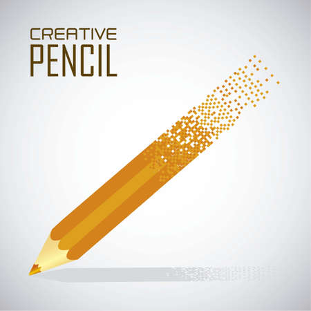 crumbling: crumbling pencil into squares, vector illustration