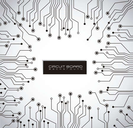 electronic circuit board: circuit board, gray gradient background Illustration