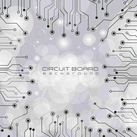 electronic board: circuit board,  on lights and gray gradient background illustration