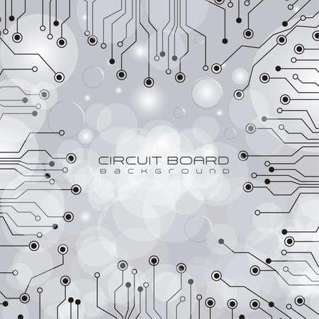 la placa de circuito, las luces y la ilustración gris degradado de fondo