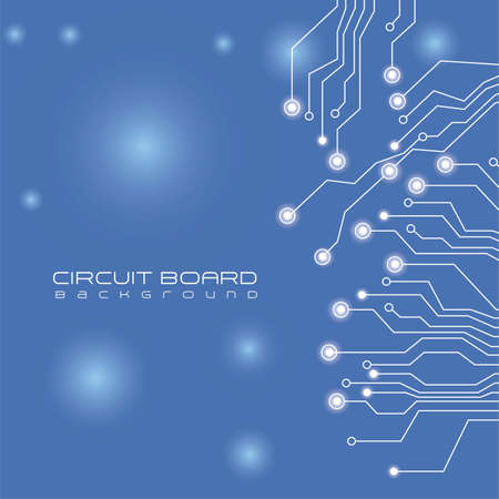 circuit board,  on lights and blue background Vector