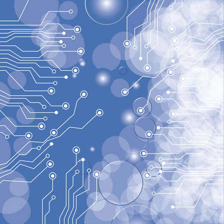 circuit board,  on lights and blue gradient background illustration Stock Vector - 14628067