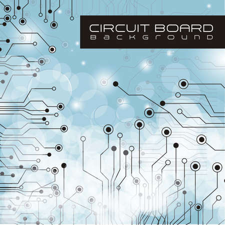 circuitos electricos: la placa de circuito, las luces y el fondo gris degradado
